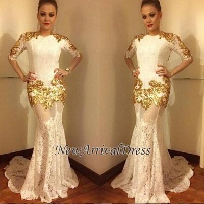 Half-sleeve Long Mermaid Lace Prom Dress, modern prom dress_1