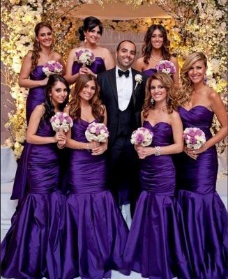 Modern Mermaid Sweetheart Purple Long Bridesmaid Dresses_3