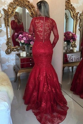 Luxury Sexy Mermaid Lace Evening Dresses | V-Neck Long Sleeves See Through Prom Dresses_3