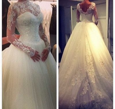 High Neck Lace Custom Made Ball Gown Wedding Dresses Cheap | Beading Crystals Long Sleeve Bridal Gowns_3
