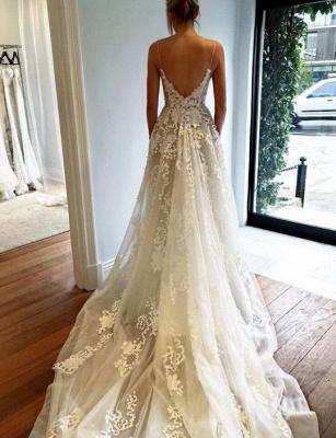 Tulle New Arrival A-line  Lace Applique Spaghetti Strap Elegant Wedding Dresses_3