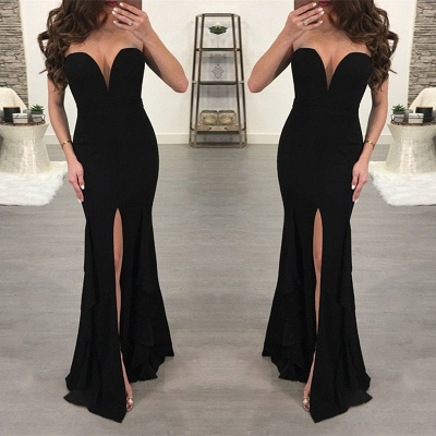 Sexy Black Sweetheart Evening Dress | 2019 Mermaid Prom Dress With Slit_3