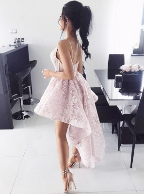 Newest Lace Spaghetti Strap Hi-Lo Homecoming Dress | Sleeveless A-line Party Gown_3