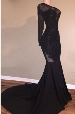 Long Sleeve Black Appliques Evening Gowns   Mermaid Open Back Prom Dresses Cheap_1