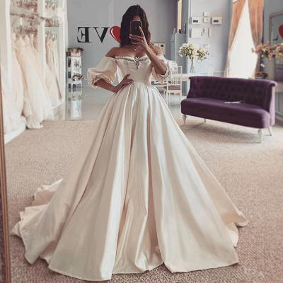 Beads Off The Shoulder Ball Gown Wedding Dresses | Short Sleeve Cheap Bridal Gowns Online_2