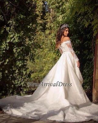 Elegant Long Sleeve Cheap Online Lace Appliques Beautiful Princess Off The Shoulder Wedding Dresses_1