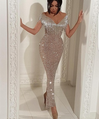 Shiny Off The Shoulder Sequins Formal Dresses   Long Mermaid Prom Dresses with Tassels BC0474_3