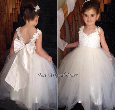 Lace Cute Flower Bowknot Backless Tulle White Girl Dresses_4
