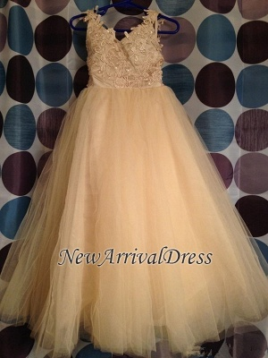 Lace Cute Flower Bowknot Backless Tulle White Girl Dresses_3