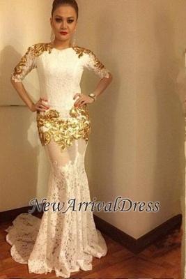 Half-sleeve Long Mermaid Lace Prom Dress, modern prom dress_3