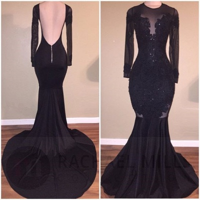 Long Sleeve Black Appliques Evening Gowns   Mermaid Open Back Prom Dresses Cheap_2