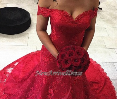 Court-Train Mermaid Sexy Red Lace Off-the-shoulder Evening Dresses_3