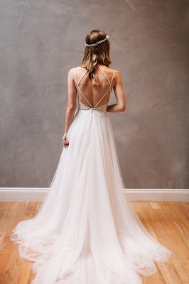 New Arrival Spaghetti Strap Summer Dresses A-Line Tulle Open Back Bridal Gowns_5