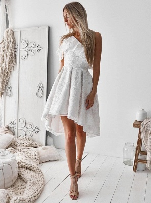 Delicate Lace One Shoulder A-line Homecoming Dress | Short Party Gown_4