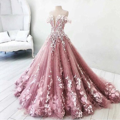 Fairytale Floral Puffy Prom Dresses | Off-The-Shoulder Lace Appliques Quinceanera Dresses_3