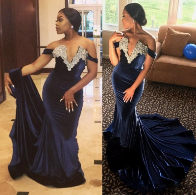 Sexy Mermaid Lace Appliques Off-the-shoulder Sweep Train Prom Dress   Mermaid Evening Dress_3