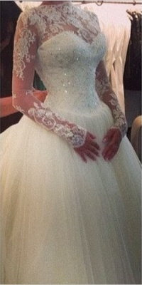 High Neck Lace Custom Made Ball Gown Wedding Dresses Cheap | Beading Crystals Long Sleeve Bridal Gowns_1
