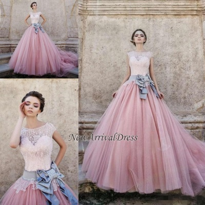 Lace Appliques Pink Ball Gown Wedding Dresses | Bowknot Cap Sleeve Bridal Gowns_1