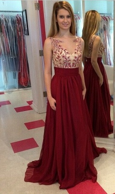 Long ChiffonProm Dresses Spring Applique Floor Length Sleeves Evening Gowns_1