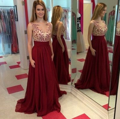 Long ChiffonProm Dresses Spring Applique Floor Length Sleeves Evening Gowns_2