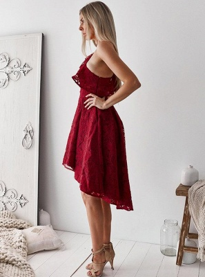 Delicate Lace One Shoulder A-line Homecoming Dress | Short Party Gown_3