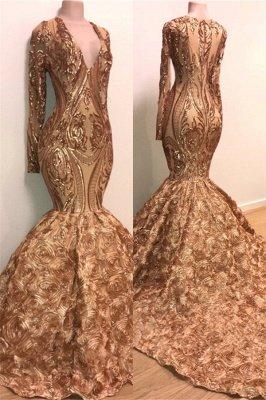 Long Sleeve Mermaid Gold Long Prom Dresses Cheap for Junior | V-neck Flowers Formal Dresses for Women BC1373_1