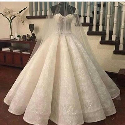 Gorgeous Sweetheart-Neck Lace Ruffles Ball-Gown Wedding Dresses_2