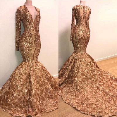 Long Sleeve Mermaid Gold Long Prom Dresses Cheap for Junior | V-neck Flowers Formal Dresses for Women BC1373_2