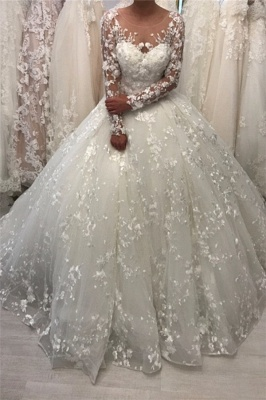 Lace Long Sleeve Ball Gown Wedding Dresses 2020 | Sheer Tulle Appliques Bridal Gowns Online