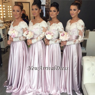 Elegant White-Lace Long-Sleeve Popular Pink V-neck Bridesmaid Dress_1