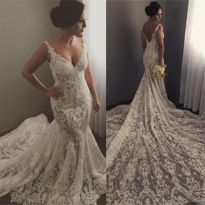 V-neck Sleeveless Mermaid Wedding Dresses | Cheap Lace Appliques Bridal Gown WE0196_4