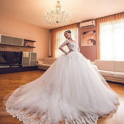 Luxurious Tulle Elegant Long Sleeve Cheap Online Sweetheart Ball Gown Wedding Dresses_5