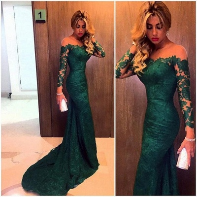 Dark Green Evening Gowns Long Sleeves Lace Glamorous Mermaid Prom Dresses_3