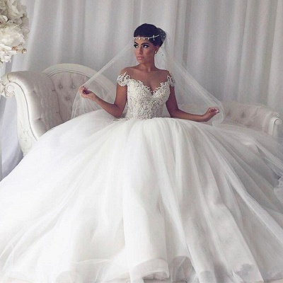 Elegant Sleeveless Cheap Ball Gown Wedding Dresses   Off The Shoulder V-Neck Bridal Gowns Cheap_3