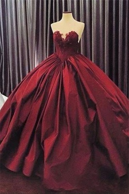 Elegant Sweetheart Ball Gown Evening Dress | Sleeveless Appliques Burgundy Prom Dresses Cheap_2