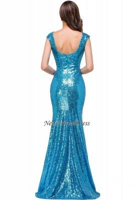 Vestido de fiesta largo y modesto con lentejuelas y manga casquillo azul sirena_2