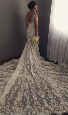 V-neck Sleeveless Mermaid Wedding Dresses | Cheap Lace Appliques Bridal Gown WE0196_3
