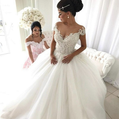 Elegant Sleeveless Cheap Ball Gown Wedding Dresses   Off The Shoulder V-Neck Bridal Gowns Cheap_4