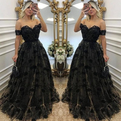 Sexy Black Lace Neck Applique Short Sleeves Long Formal Prom Dresses_3