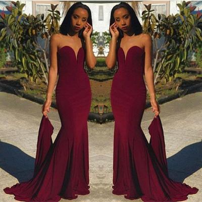 Newest Burgundy Sweetheart Sleeveless Bodycon Sweep Train | Prom Dresses Cheap BA8866_3