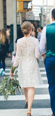 Long Sleeve Lace White Short Wedding Dresses | Chic A-line Cheap Short Bridal Gowns_2