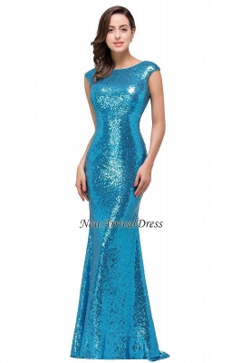 Vestido de fiesta largo y modesto con lentejuelas y manga casquillo azul sirena_3