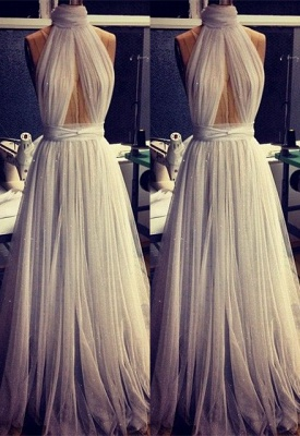 Custom Made A-line Tulle High Neck New Arrival Sleeveless Prom Dresses Cheap_2