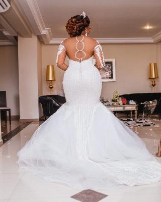 Sexy Sheer Tüll Meerjungfrau Spitze Brautkleider | Brautkleider mit langen Ärmeln und Applikationen_2