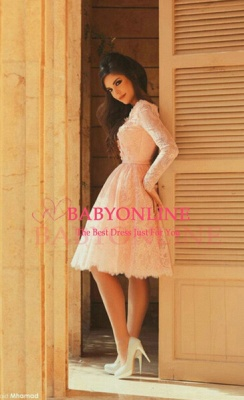 Lace Short Pearl Pink Prom DressesBeaded Long Sleeves Formal Party Dresses_4