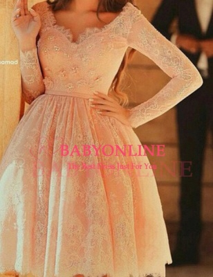 Lace Short Pearl Pink Prom DressesBeaded Long Sleeves Formal Party Dresses_3