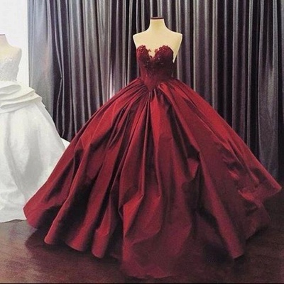 Elegant Sweetheart Ball Gown Evening Dress | Sleeveless Appliques Burgundy Prom Dresses Cheap_3
