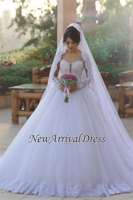 Long Sleeve Bridal Dress Cheap Online | Tulle Lace Appliques Popular Ball Gown Wedding Dresses_1