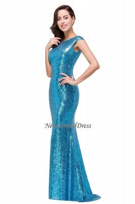 Vestido de fiesta largo y modesto con lentejuelas y manga casquillo azul sirena_4