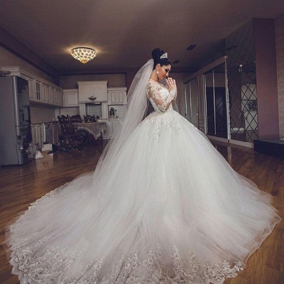 Luxurious Tulle Elegant Long Sleeve Cheap Online Sweetheart Ball Gown Wedding Dresses_4